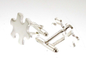 View Silver jigsaw cufflinks in detail