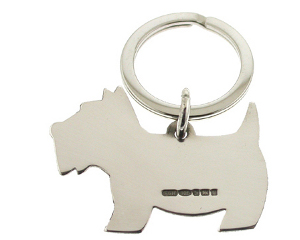 Scottie Dog Silver Keyring