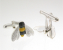 View Silver Bumble Bee cufflinks in detail